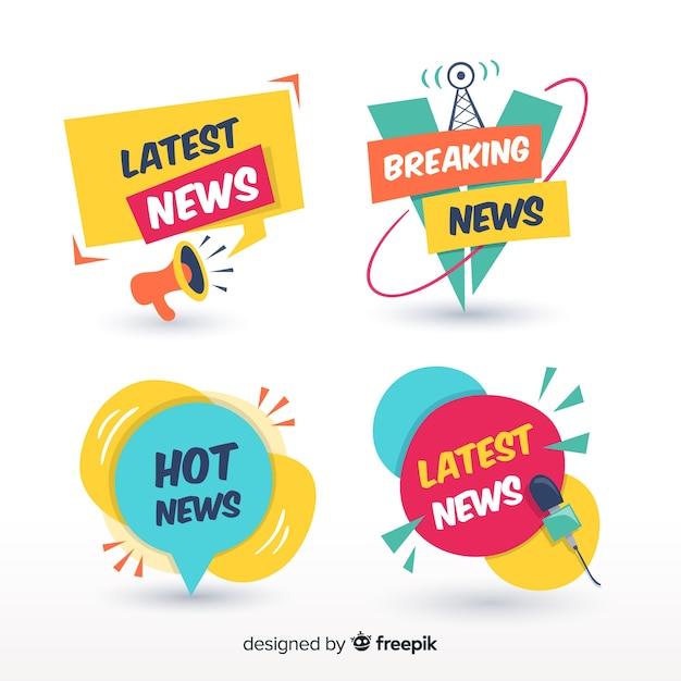 Banners coloridos de últimas noticias vector gratuito