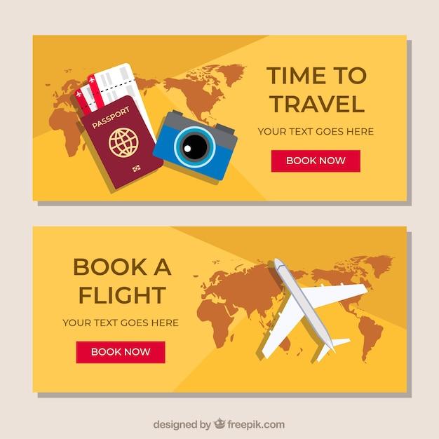 Banners coloridos de viaje con diseño plano vector gratuito