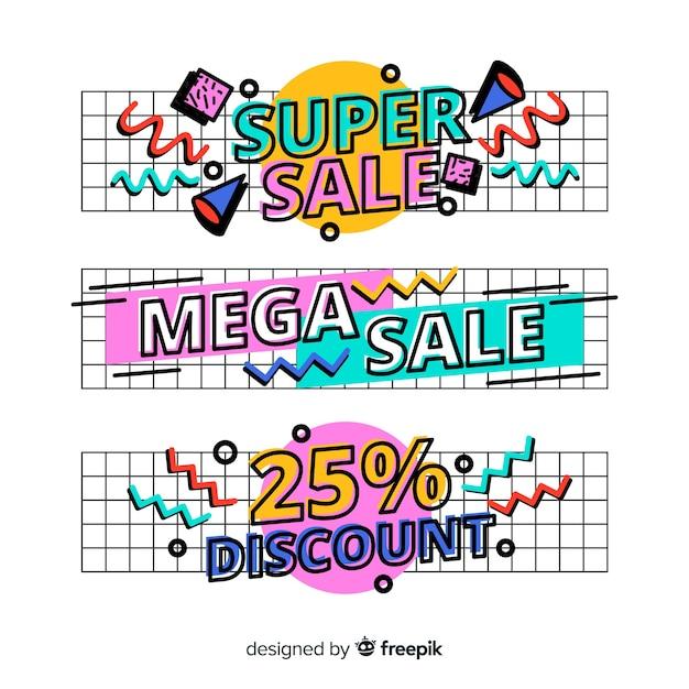 Banners de compras de estilo memphis vector gratuito