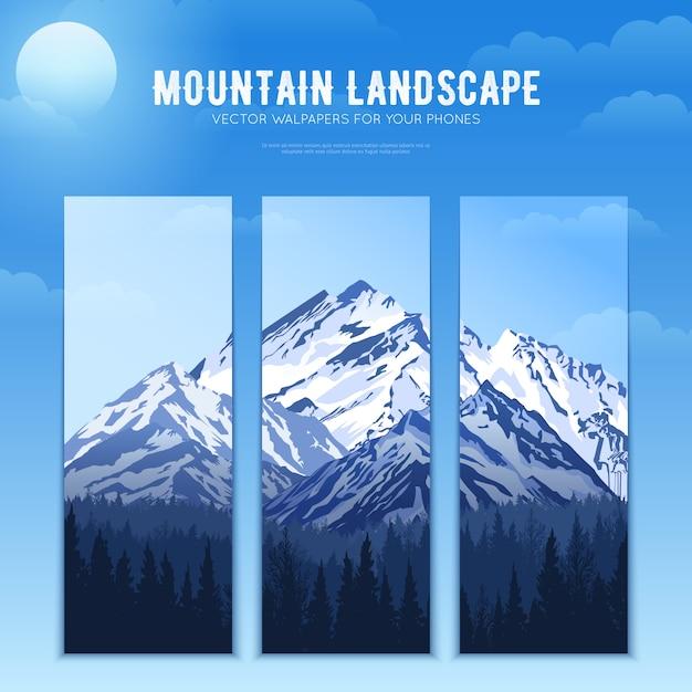 Banners de concepto de diseño de paisaje de montañas vector gratuito
