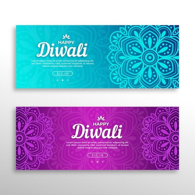 Banners del concepto de diwali vector gratuito