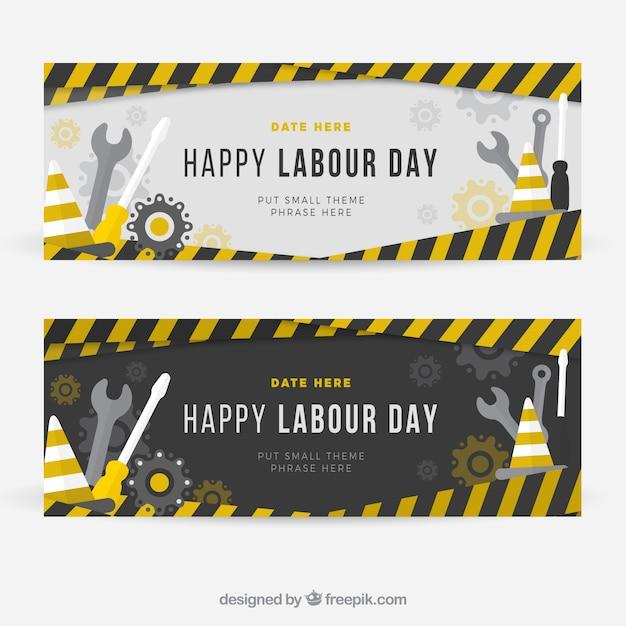 Banners de construcción del día de trabajo vector gratuito