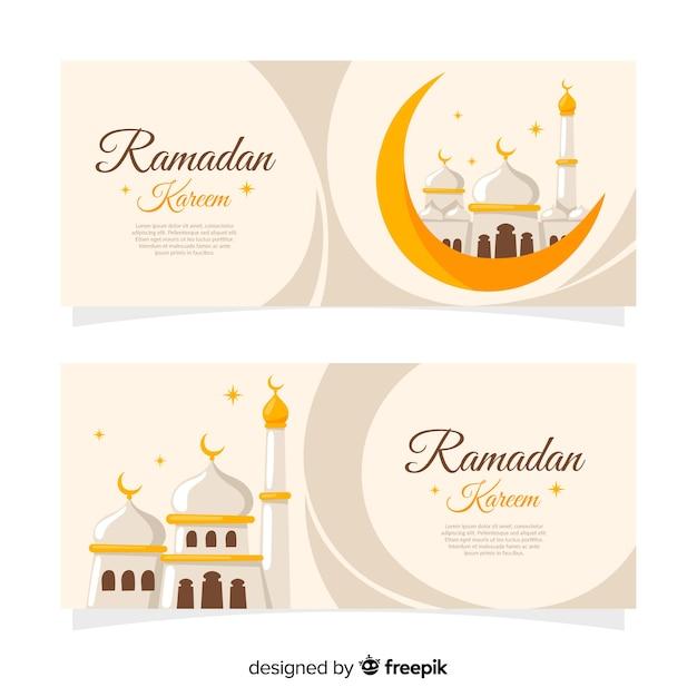 Banners creativos de ramadán vector gratuito