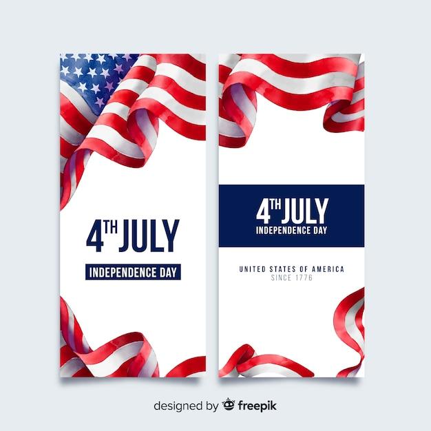 Banners del cuatro de julio vector gratuito