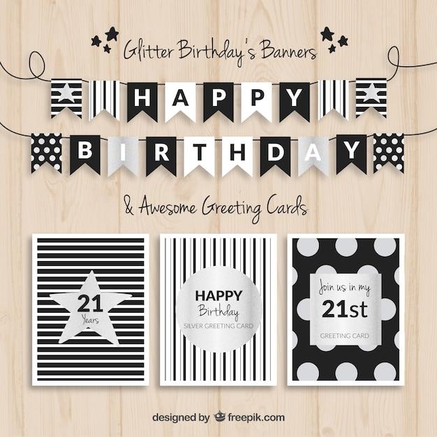 Banners de cumpleaños y tarjetas negro y plata vector gratuito