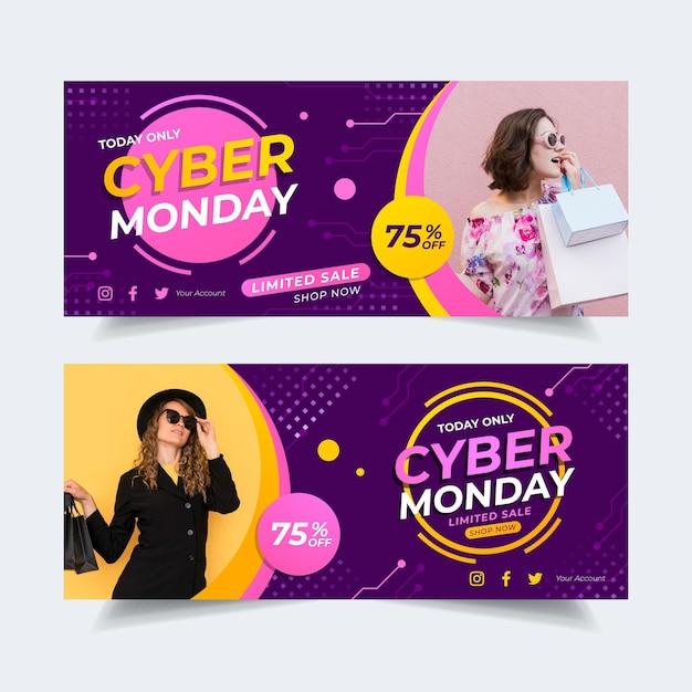 Banners de cyber monday de diseño plano con foto vector gratuito