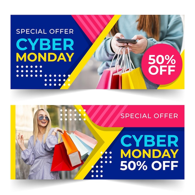 Banners de cyber monday de diseño plano vector gratuito