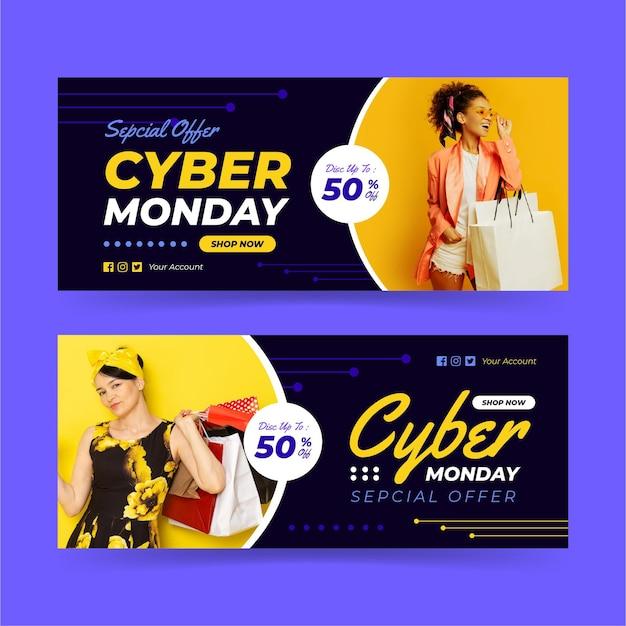 Banners de cyber monday con foto vector gratuito