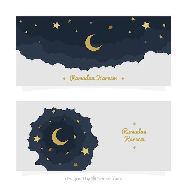 Banners de cielo de luna y estrellas de ramadan kareem  Vector Gratis