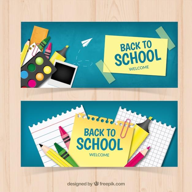 Banners de colegio con elementos artísticos Vector Gratis