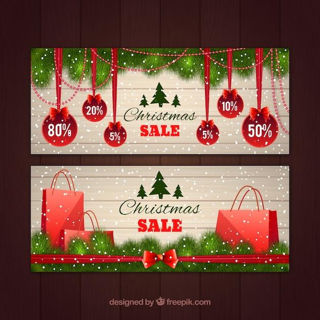 Banners de descuentos de navidad Vector Gratis