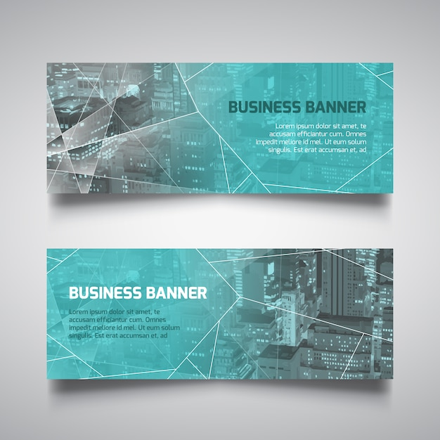 Banners de estilo tecnológico para negocios Vector Gratis