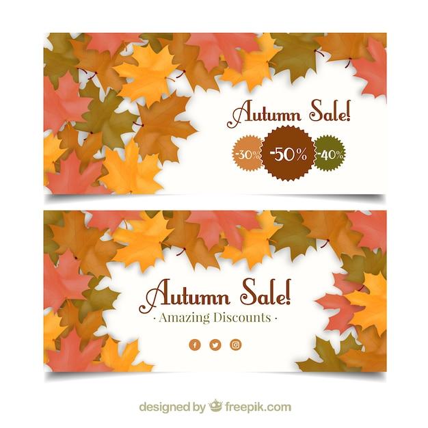 Banners de ofertas con decoracin de hojas secas Descargar