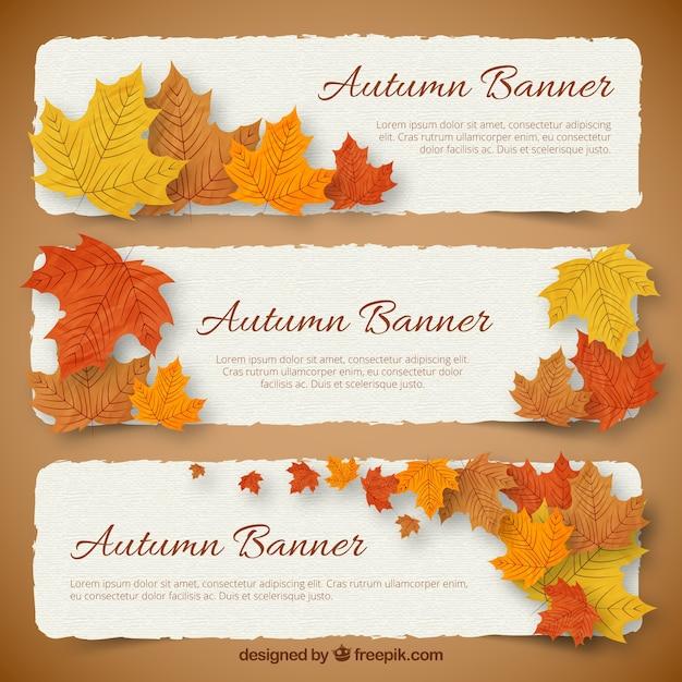 Banners de otoño Vector Gratis