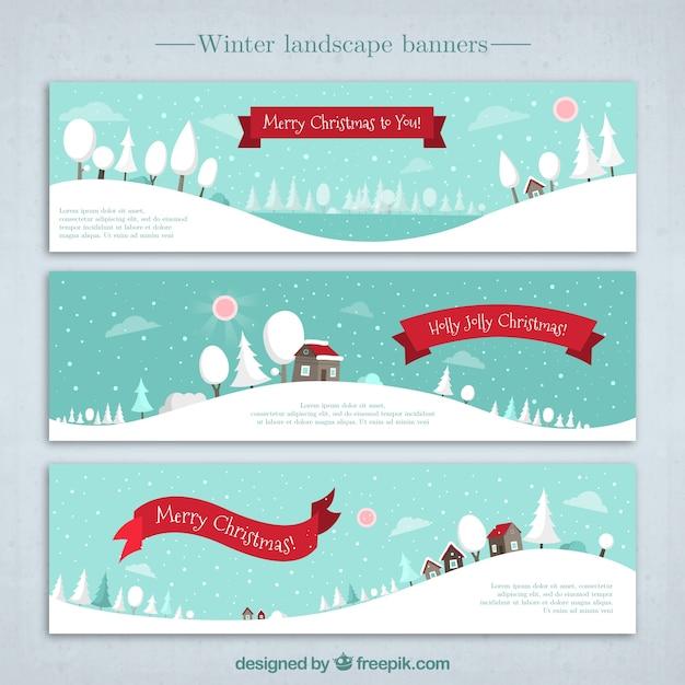 Banners de paisaje nevado Vector Gratis