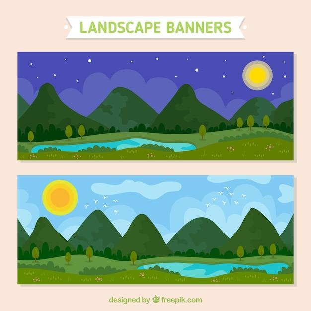 Landscape Design In A Day: Banners De Paisaje Nocturno Y Diurno