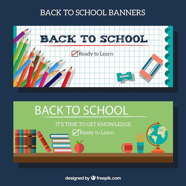 Banners de vuelta a la escuela con lápices y otros materiales Vector Gratis