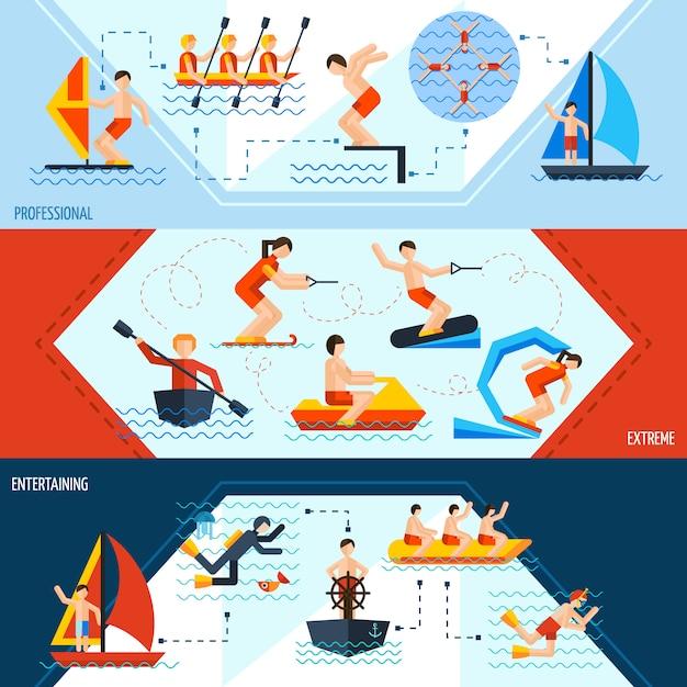 Banners de deportes acuáticos vector gratuito