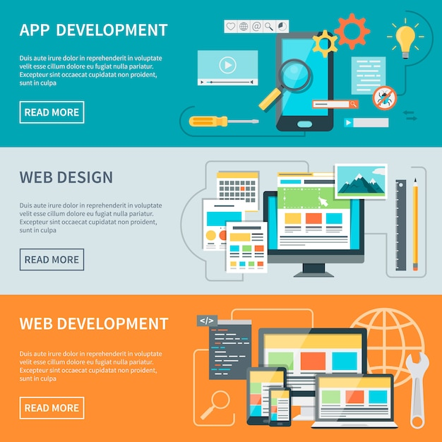 Banners de desarrollo de sitios web vector gratuito