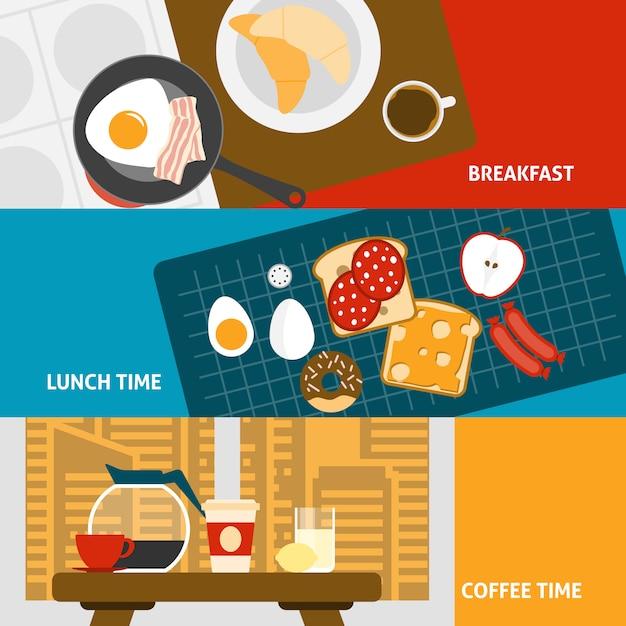 Banners de desayuno conjunto vector gratuito