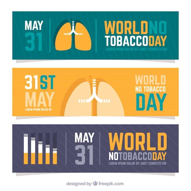 Banners del día antitabaco vector gratuito