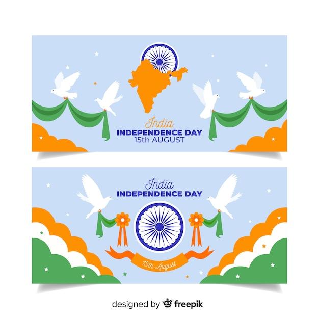 Banners del día de la independencia de india en diseño plano vector gratuito