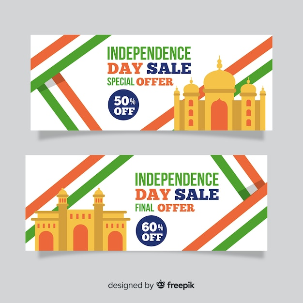 Banners del día de la independencia de india vector gratuito