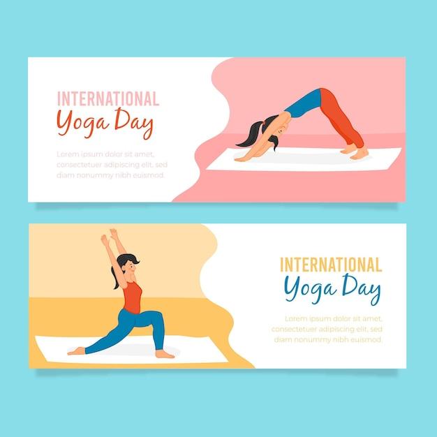 Banners del día internacional del yoga vector gratuito