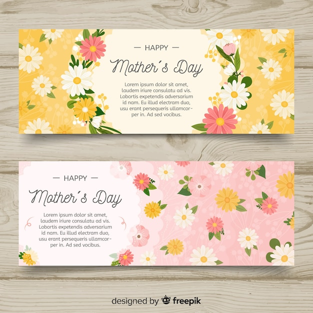 Banners del día de la madre dibujado a mano vector gratuito