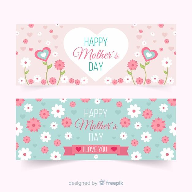 Banners del día de la madre en diseño plano vector gratuito