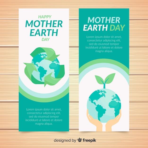Banners del día de la madre tierra vector gratuito