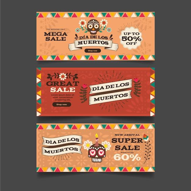 Banners del día de muertos de diseño vintage vector gratuito