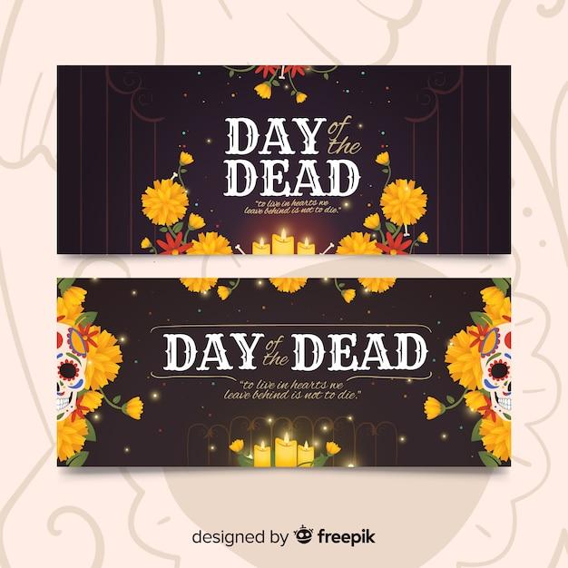 Banners del día de los muertos de diseño vintage vector gratuito