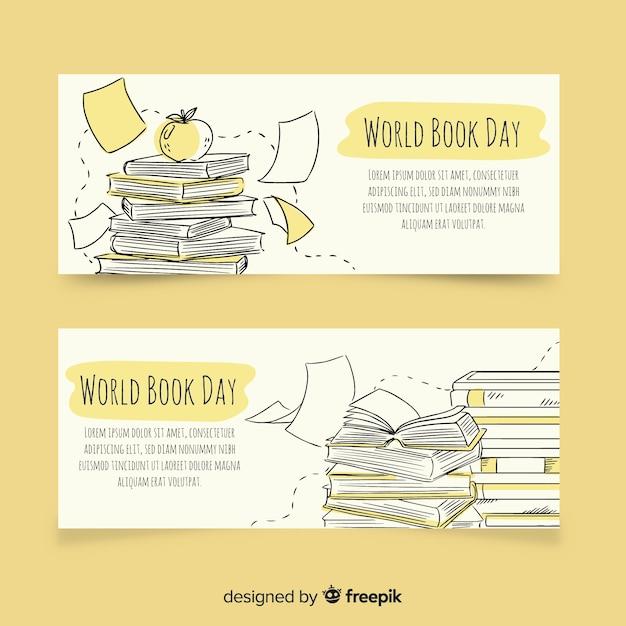 Banners del día mundial del libro dibujados a mano vector gratuito