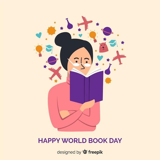 Banners del día mundial del libro en diseño plano vector gratuito