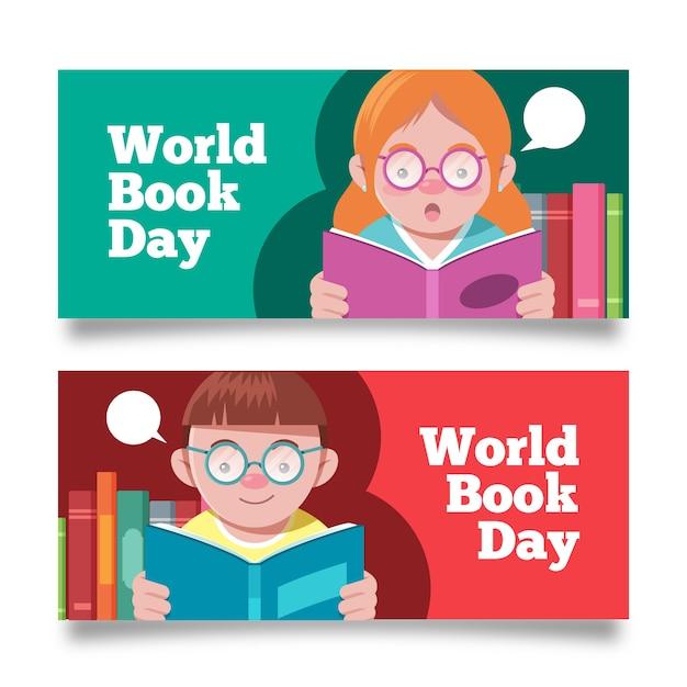 Banners del día mundial del libro de diseño plano vector gratuito