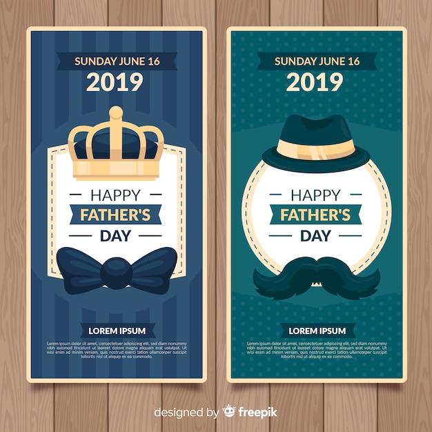 Banners del día del padre en diseño plano vector gratuito