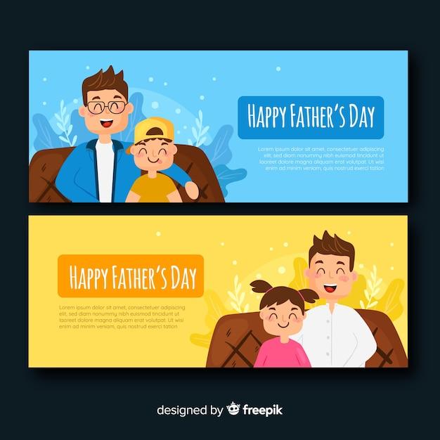 Banners del día del padre flat vector gratuito
