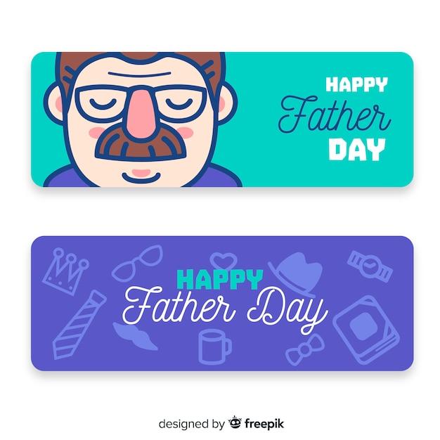 Banners del día del padre vector gratuito