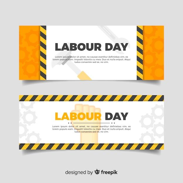 Banners del día del trabajador en diseño plano vector gratuito