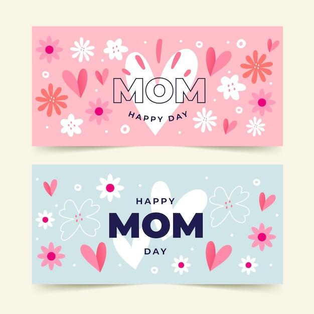 Banners dibujados a mano del día de la madre Vector Premium
