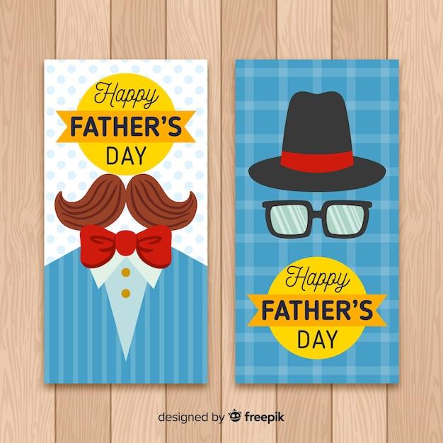 Banners dibujados a mano del día del padre vector gratuito