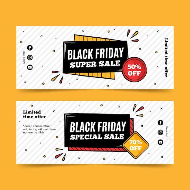 Banners dibujados a mano super venta de viernes negro vector gratuito