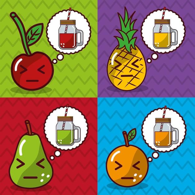 Banners de dibujos animados kawaii de frutas y jugos Vector Premium