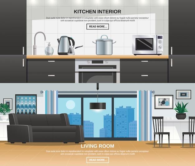 Banners de diseño de interiores de cocina moderna vector gratuito