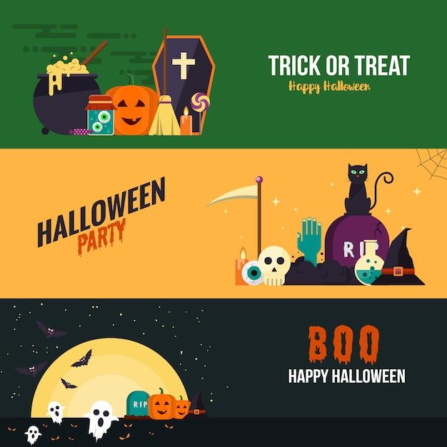 Banners de diseño plano de hallowen Vector Premium