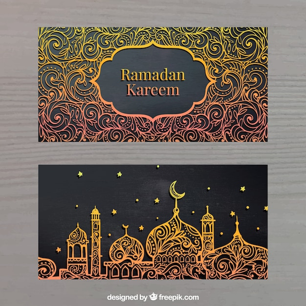 Banners dorados de ramadan kareem Vector Gratis