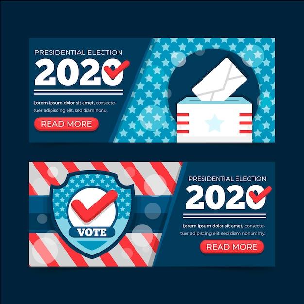 Banners de elecciones presidenciales de 2020 en estados unidos vector gratuito