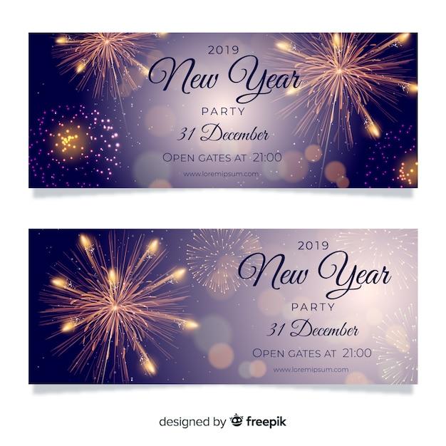 Banners elegantes de fiesta de fin de año 2019 con diseño realista vector gratuito