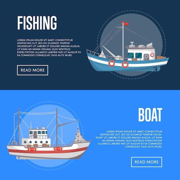 Banners de empresas pesqueras con pequeñas embarcaciones comerciales Vector Premium